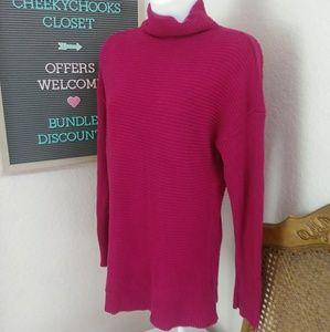 Michael Kors mock neck sweater hot pink turtleneck